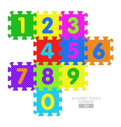 Alphabet puzzle numbers vector image vector image