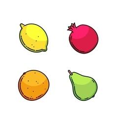 Lemon pear mandarin and garnet set isolated on vector image