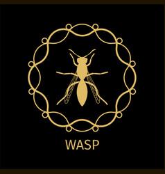 wsp in calligraphy framework label vector image
