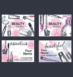 beauty salon business card hand drawn vector image