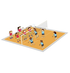 girls playing volley ball vector image vector image