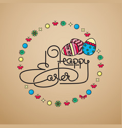 happy easter handwritten lettering with eggs vector image vector image