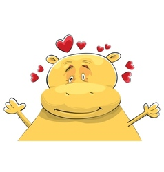 happy hippopotamus in love vector image vector image