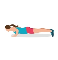 push up woman fitness position exercise gym vector image