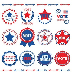 Red and blue Vote America emblems and badges set vector image vector image