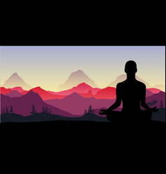 yoga meditation in the mountains relax vector image