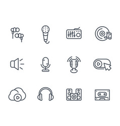 audio icons sound mixing microphones recording vector image vector image