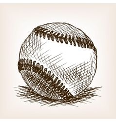 Baseball ball hand drawn sketch style vector image vector image