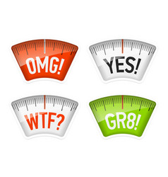 bathroom scales displaying omg yes wtf and gr8 vector image