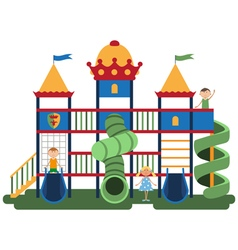 Children on kids playground with related items vector image