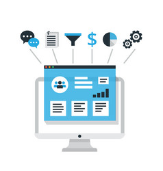 crm concept design with elements flat vector image