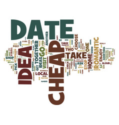 first rate cheap date ideas text background word vector image vector image
