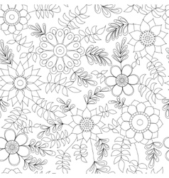 Floral pattern with leaves coloring vector image vector image