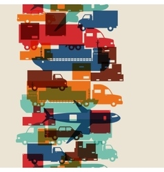 Freight cargo transport icons seamless pattern in vector image vector image