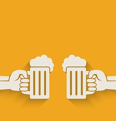 hands with beer mugs vector image
