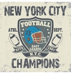 New York football vintage t-shirt graphics vector image