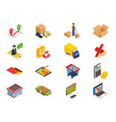 online shopping - isometric items with things vector image