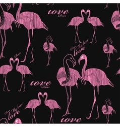 seamless pattern flamingo vector image vector image