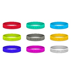 Set of multicolored rubber wristband vector image vector image