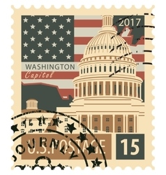 stamp with US Capitol vector image vector image