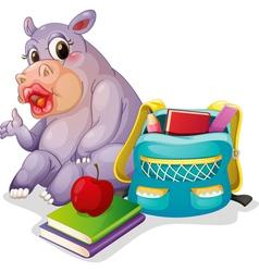 a buffalo with school bag vector image