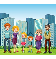 A family in front of the tall buildings in the vector image