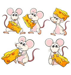 A group of mice carrying slices of cheese vector
