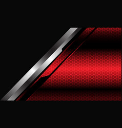 Abstract red metallic hexagon mesh silver grey vector