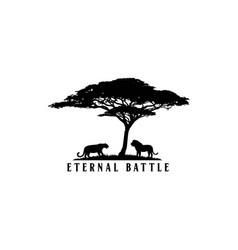 An african safari animal silhouette landscape scen vector