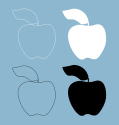 Apple the black and white color icon vector