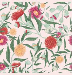 Blooming eucalyptus seamless pattern gum vector