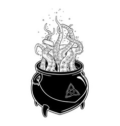 Boiling magic cauldron with octopus tentacles vector