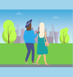 buildings and people on walk girl in hat outdoors vector image