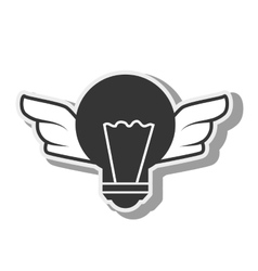 bulb with wings light idea creative design vector image