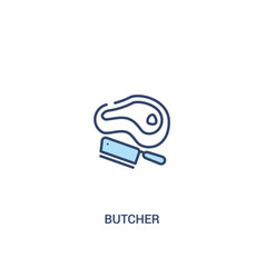 Butcher concept 2 colored icon simple line vector