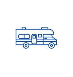 Caravan car line icon concept caravan car flat vector