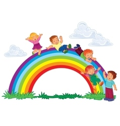 Carefree young children slide down rainbow vector