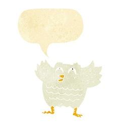 cartoon black bird with speech bubble vector image vector image