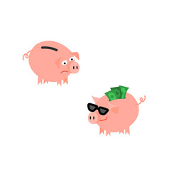 Cartoon piggy bank set vector