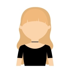 Character blonde woman collar and black blouse vector