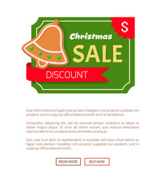Christmas sale discount gingerbread jingle bell vector