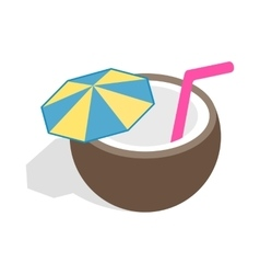 Coconut cocktail icon isometric 3d style vector