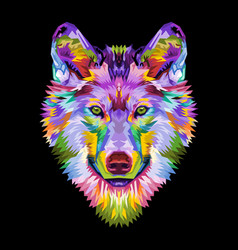 colorful wolf head on pop art style vector image