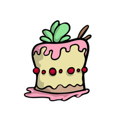 Creamy cake with sweet leaves and red cherry vector