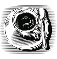 Cup of coffee with saucer and spoon vector