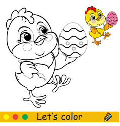 Cute chicken with easter egg coloring with vector