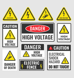 Danger signs high voltage labels vector