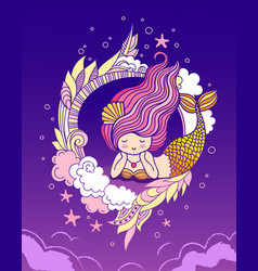 Dreamy lying mermaid with an iridescent golden vector