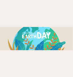 earth day banner of green planet with leaves vector image