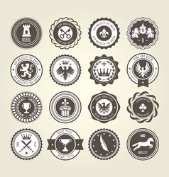 emblems blazons and heraldic badges - round labels vector image
